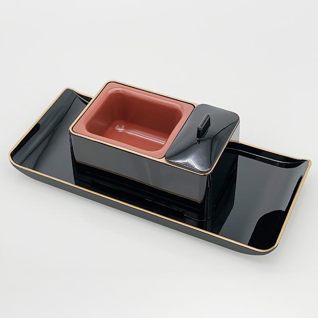 慈愛香炉 焼香盆セット 黒フチ金